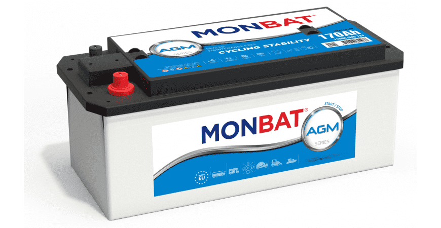 СТАРТОВ АКУМУЛАТОР 220AH AGM START/STOP MONBAT 1400A Д+